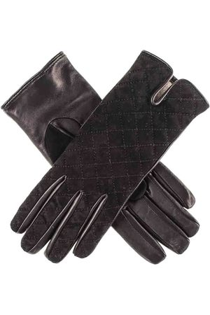 Black Quilted Suede and Leather Gloves - Cashmere Lined
