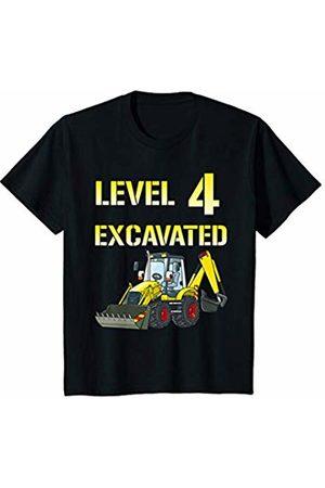 Youth Excavator Birthday T Shirt 4 Year Old Bday Boy Gift