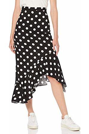 Miss Selfridge Women's Monochrome Polka Dot Print Frill Skirt 190