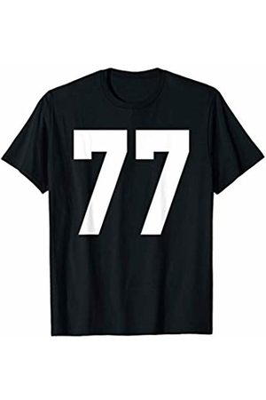 Rec League Team Sports Number T-Shirts # 77 Team Sports Jersey Front & Back Number Player Fan T-Shirt
