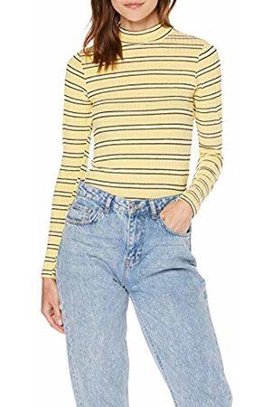 Miss Selfridge Women's Pale Striped Funnel Neck Top T-Shirt, 060