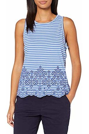 Superdry Women's Lara Broderie Vest Kniited Tank Top, (Chambray Stripe E2f)