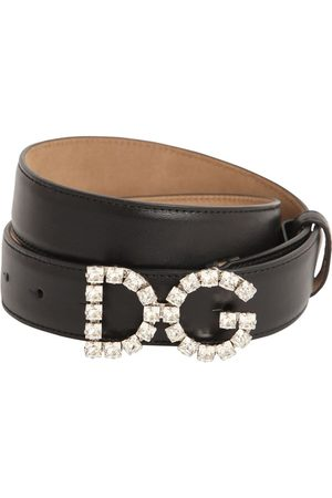 Dolce & Gabbana 25mm Leather Belt W/ Crystal Logo Buckle