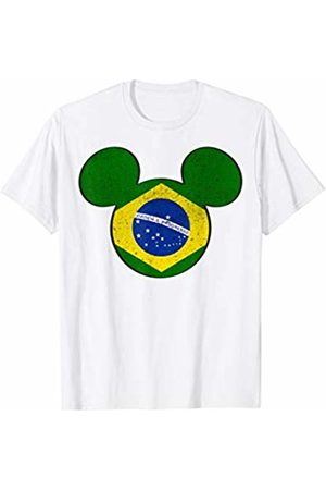 Disney Mickey Mouse Logo Brazil Flag Fill Graphic T-Shirt