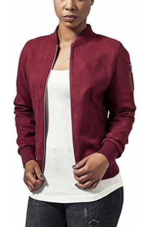 Urban classics Women's Ladies Imitation Suede Bomber Jacket - Rot (Burgundy 606)