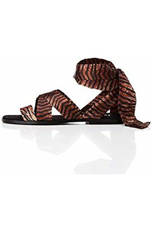 FIND Satin Tie Up Open Toe Sandals, Animal