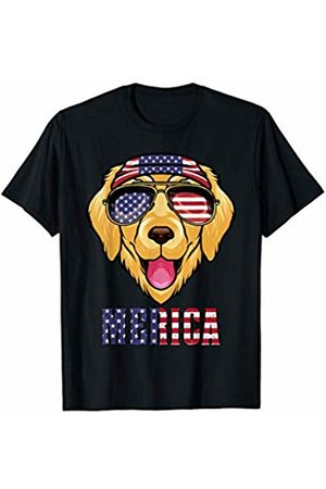 Patriotic IM Co Golden Retriever American Sunglasses Bandana USA 4th of July T-Shirt