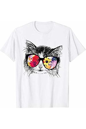 Fun For Summer Tees Funny Hipster Cat Lover Summer Flowers Sunglasses Gift T-Shirt