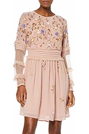 Frock and Frill Women's Flos Embellished Long Sleeve Skater Dress Party
