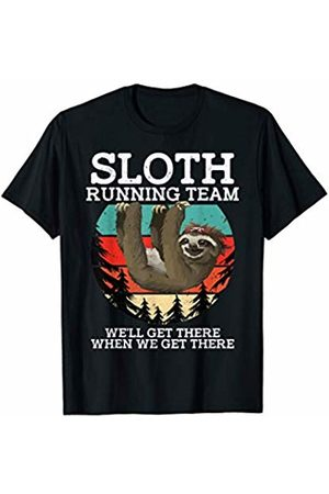 Retro Birthday Girl Sloth Running Team We'll Get There When We Get There T-Shirt