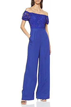 Little Mistress Women's Sian Cobalt Crochet Bardot Jumpsuit Straight Leg Plain Short Sleeve Jumpsuit