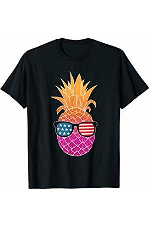 Funny Independence Day America Shirts Hawaiian Pineapple American Flag Sunglasses 4th Of July T-Shirt