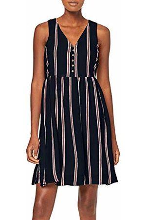 Vero Moda Women's Vmhanna Sl Abk Dress LCS (Night Sky Stripes: Snow /Emberglow)