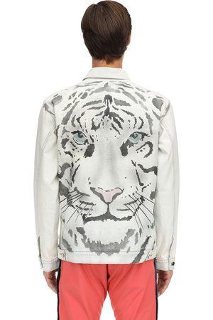 JUST DON Tiger Print Cotton Denim Jacket