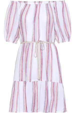 Velvet Cinthia striped linen-blend minidress