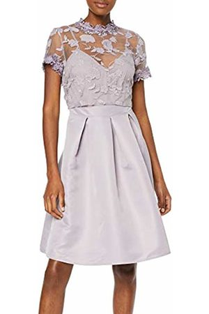 Little Mistress Women's Paige Lavender Embroidered Skater Dress Party, Frost 001