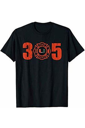FanPrint Men T-shirts - Miami Hurricanes Firefighter Logo Inside Area Code T-Shirt