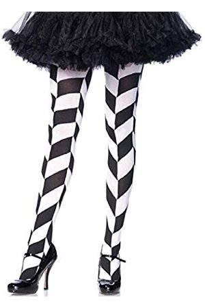 Leg Avenue 7950 One Size 6 to 12 and Chevron Illusion Woven Opaque Tights with Elastic Waistband