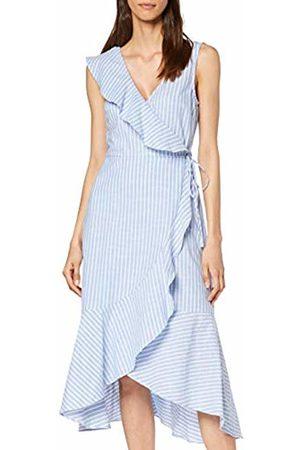 warehouse Women's Frill Front Dress, ( Stripe 33)