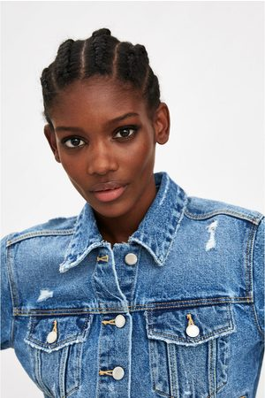 Zara Cropped denim jacket with rips