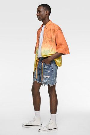 Zara Denim bermudas with tie-dye patches