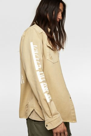 Zara Denim overshirt with slogan