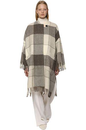 Jil Sander Check Wool Cape Coat W/ Fringes