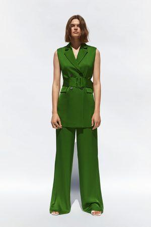 Zara Satin-finish waistcoat with belt