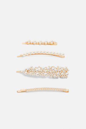 Zara Women Hair Accessories - Pack of pearl bead hair clips
