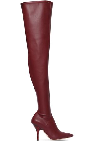 Rochas Women High Leg Boots - 100mm Faux Leather Over-the-knee Boots