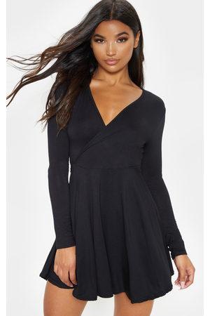 PRETTYLITTLETHING Jersey Wrap Long Sleeve Skater Dress