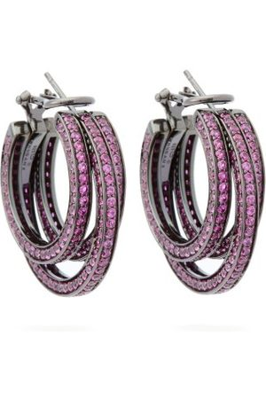 Lynn Ban Sonic Sapphire & Rhodium Triple-hoop Earrings - Womens