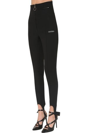 OFF-WHITE Women Trousers - High Waist Fitted Crepe Pants