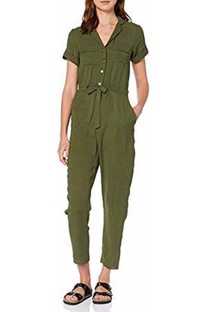 Dorothy Perkins Women's Khaki Linen Ultility Jumpsuit, (Khaki 75)