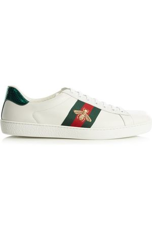 Gucci Ace Bee-embroidered Low-top Leather Trainers - Womens
