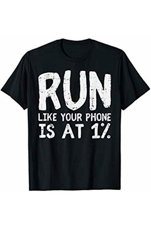 BoredKoalas Run Clothes Marathon Runner Gift Run Like Your Phone Is At 1 % Funny Marathon Running Gift T-Shirt