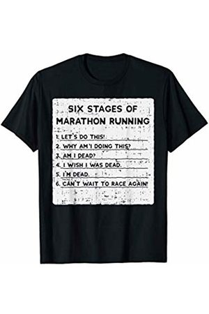 BoredKoalas Run Clothes Marathon Runner Gift Six Stages of Marathon Running Funny Marathoner Runner Gift T-Shirt