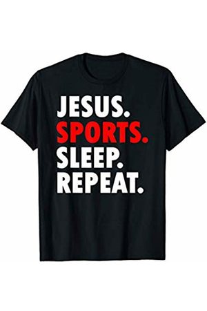 Deck't Out Christian Gear Jesus Sports Sleep Repeat Novelty Hobby T-Shirt