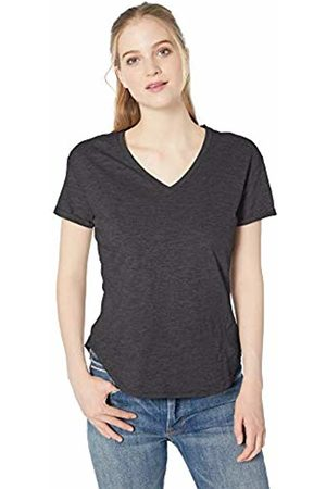 Daily Ritual Lightweight Lived-in Cotton Roll-Sleeve V-Neck T-Shirt Charcoal Heather