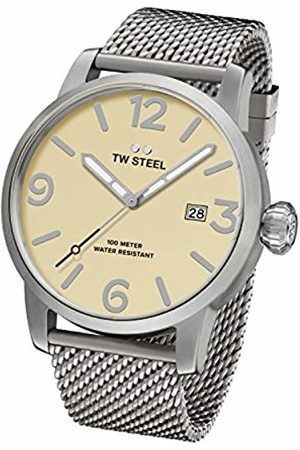 TW steel Maverick Men's Quartz Watch with Beige Dial Analogue Display and Grey Stainless Steel Bracelet MB2