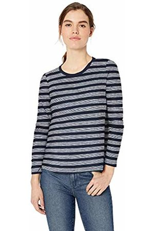 Daily Ritual Lightweight Lived-in Cotton Long-Sleeve Swing T-Shirt Navy Stripe