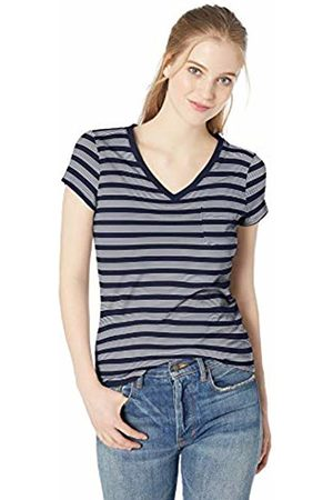 Daily Ritual Lightweight Lived-in Cotton Pocket V-Neck T-Shirt Navy Stripe