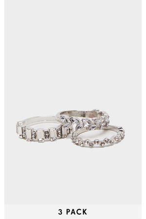 PRETTYLITTLETHING Silver Diamante Three Set Stacking Rings