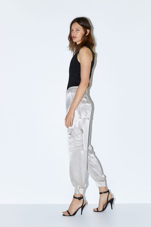 Zara Satin cargo trousers