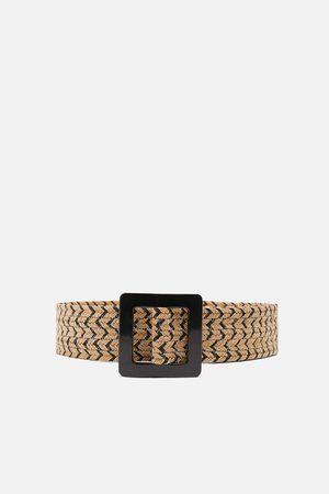Zara Women Belts - Two-tone raffia belt
