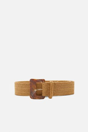 Zara Women Belts - Belt with tortoiseshell-effect buckle