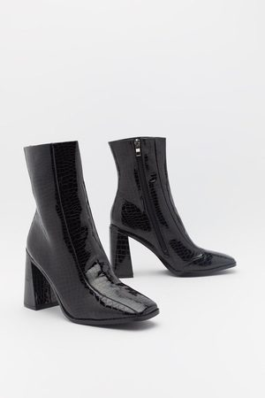 NASTY GAL Womens Flare For Dramatics Croc Square Toe Boots - - 4
