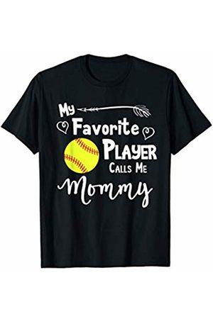 Baseball Softball Sports Fan Designs Co. Softball My Favorite Player Calls Me Mommy Sports Fan T-Shirt