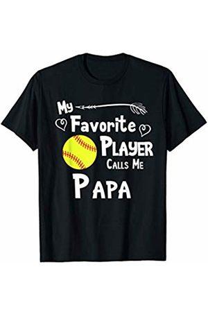 Baseball Softball Sports Fan Designs Co. Softball My Favorite Player Calls Me Papa Sports Fan T-Shirt