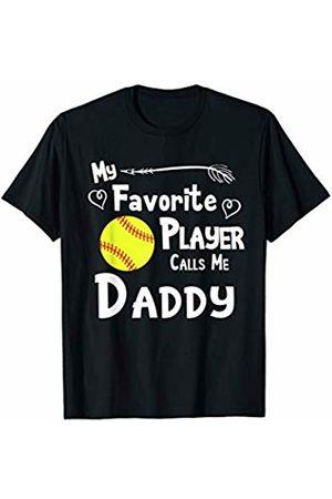 Baseball Softball Sports Fan Designs Co. Softball My Favorite Player Calls Me Daddy Sports Fan T-Shirt